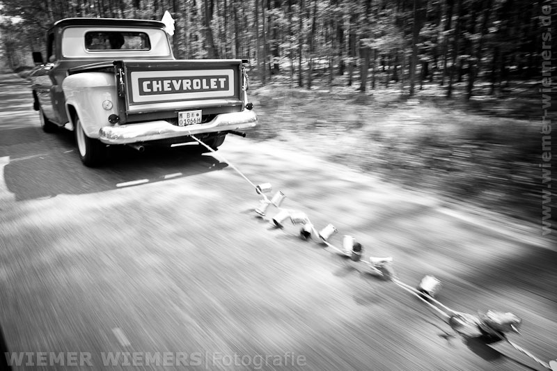Hochzeitsfotos Brandenburg Chevrolet Pick Up Schorfheide
